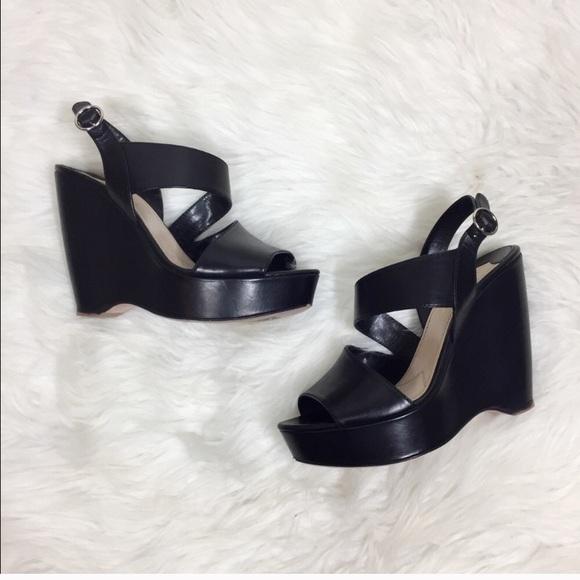 bfe22e4dfde9 Prada Shoes | Solid Black Asymmetrical Wedges | Poshmark